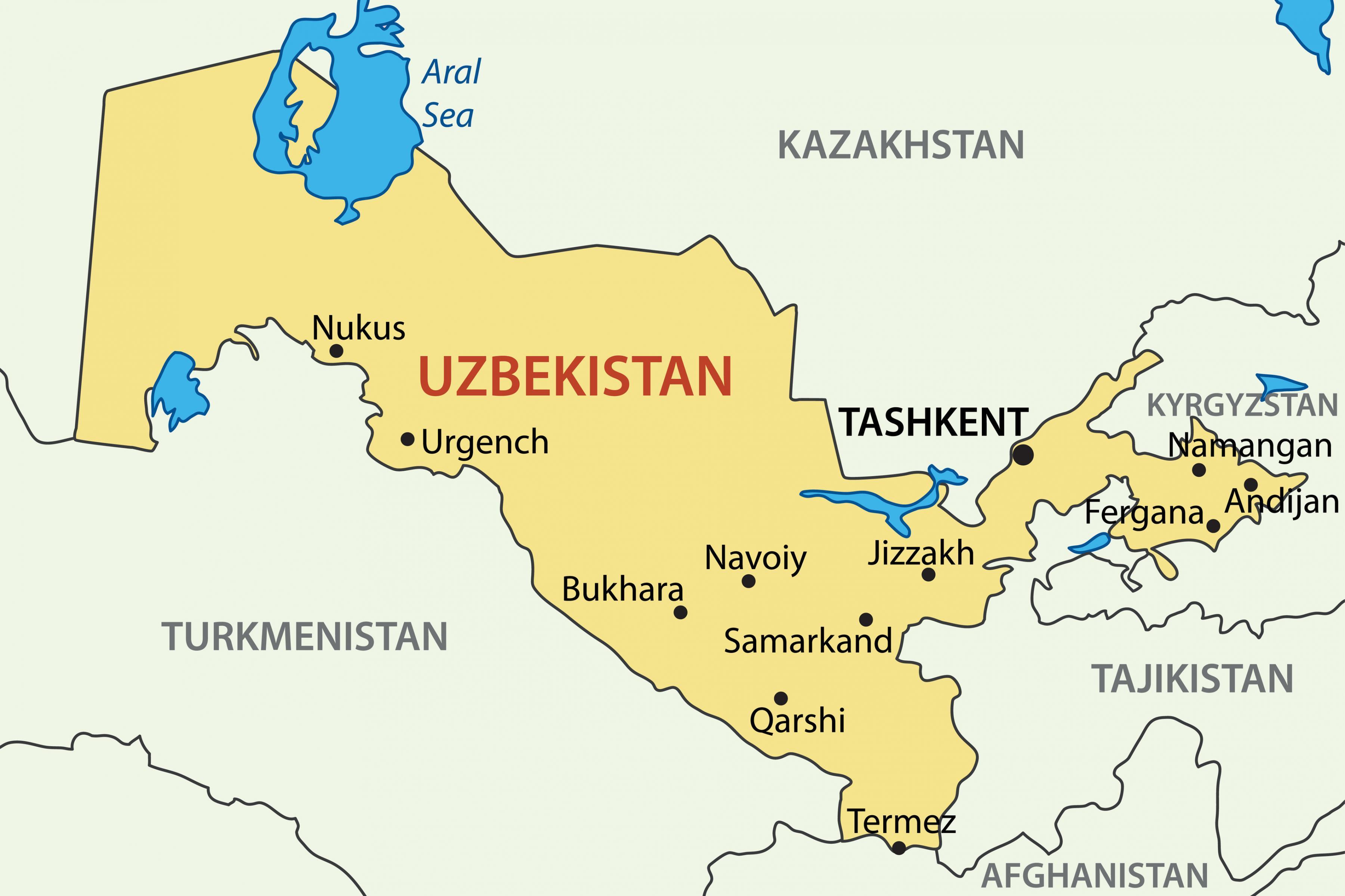 Usbekistan Karte.Landkarte Von Usbekistan Der Hauptstadt Von Usbekistan Karte