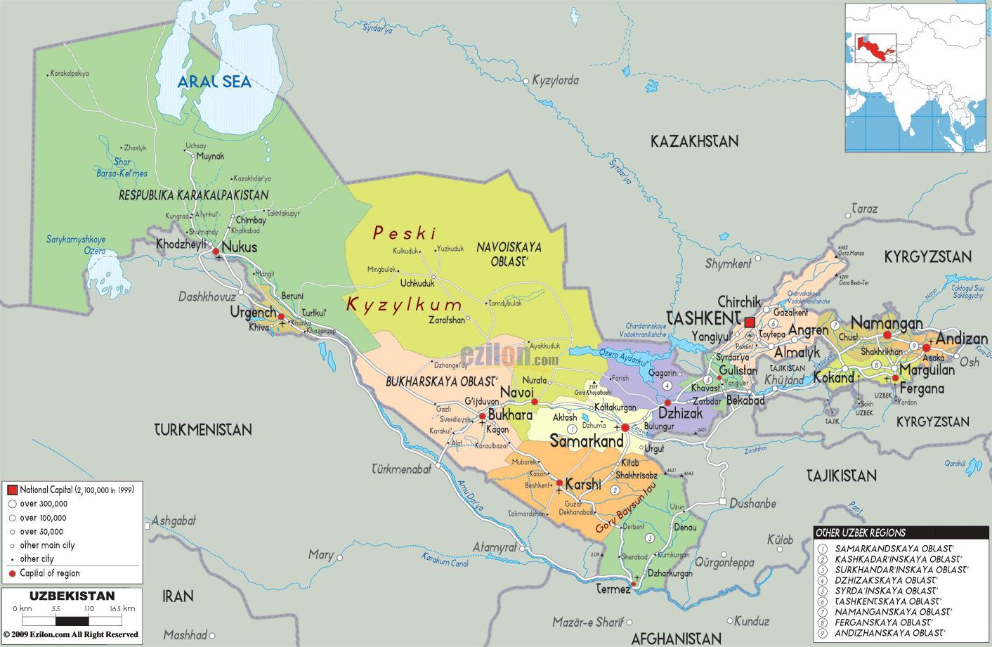 Usbekistan Karte.Usbekistan Karte Die Karte Von Usbekistan Zentralasien Asien