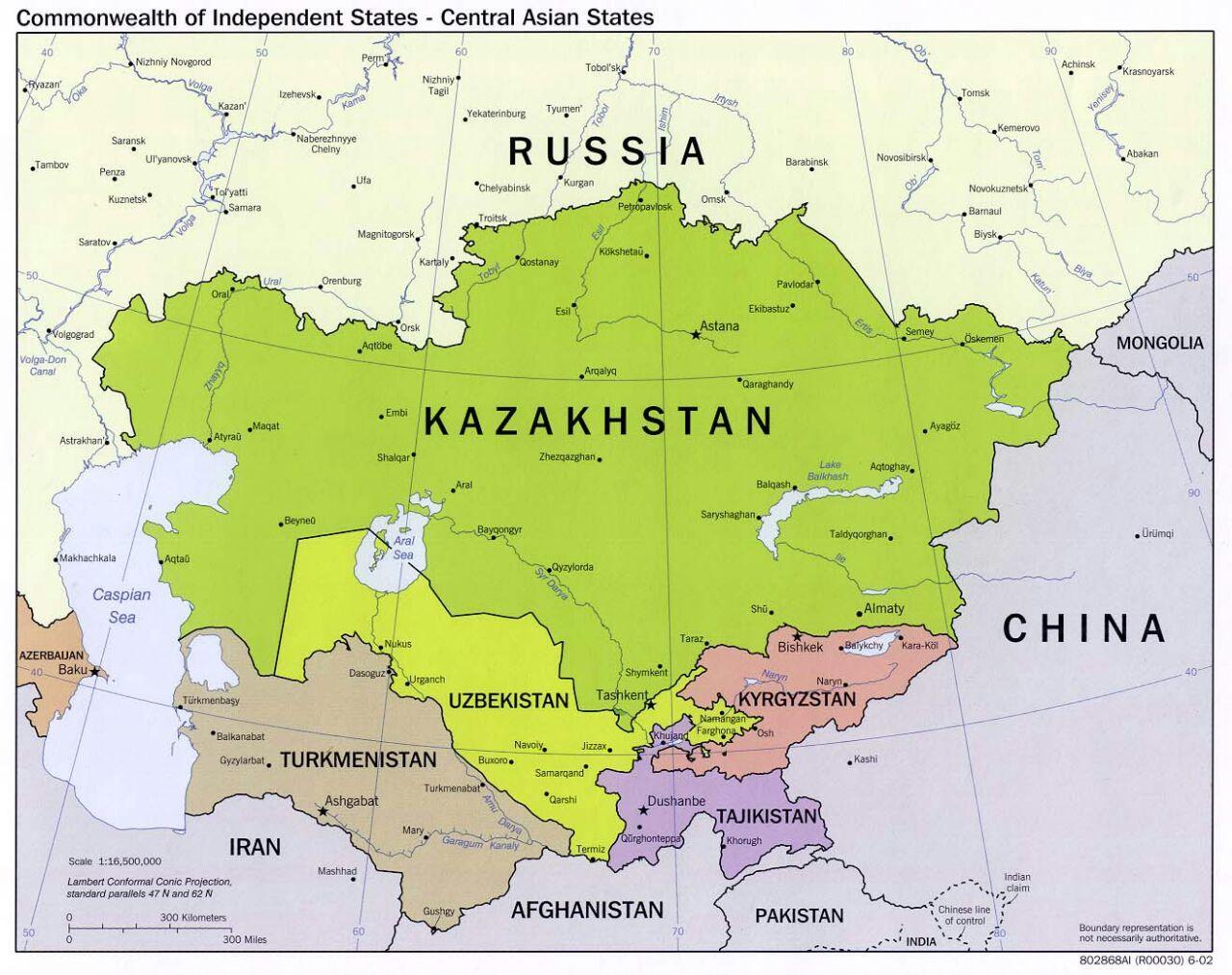Landkarte Asien.Usbekistan Karte Asien Usbekistan Russland Karte Zentral