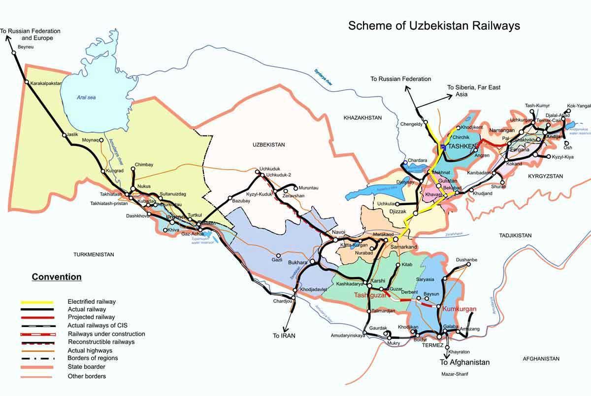 Usbekistan Karte.Usbekistan Zug Karte Usbekistan Bahn Karte Zentral Asien Asia